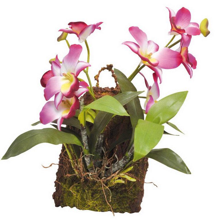 Лаки Рептайл Декоративное растение Hanging Orchid розовое, 20*30 см, Lucky Reptile