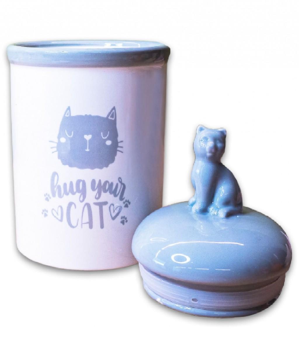 КерамикАрт Емкость Hug your cat для хранения корма и лакомств для кошек, 1,65 л, 14,5*23 см, керамика, KeramikArt