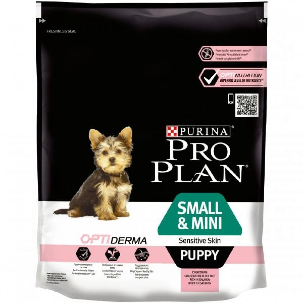 Корм Про План Puppy Small/Mini Sensitive Skin с комплексом OPTIDERMA для щенков мелких и карликовых пород с чувствительной кожей, Лосось, в ассортименте, Pro Plan