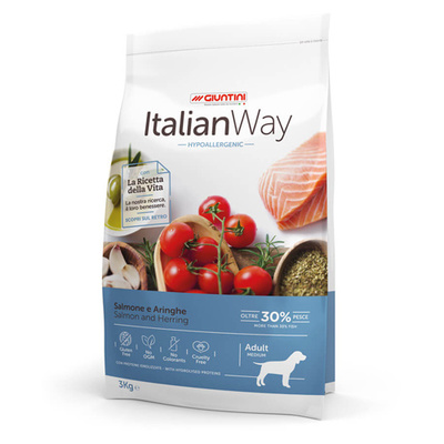 Италиан Вэй Корм сухой безглютеновый для собак средних пород с чувствительной кожей Medium Hypoallergenic Salmon/Herrings, Лосось/Сельдь, в ассортименте, Italian Way