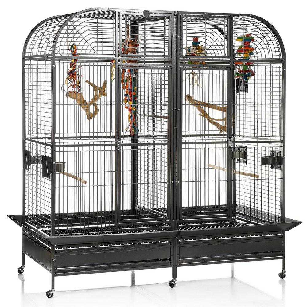 Монтана Клетка двойная с выдвижной перегородкой для грызунов и крупных птиц Palace, 163*81*185 см, в ассортименте, Montana