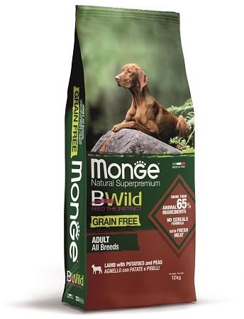 Монже Корм беззерновой BWild GRAIN FREE для собак всех пород Ягненок/Картофель/Горох, Monge
