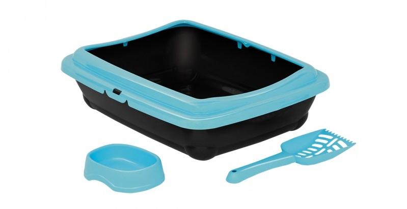 Дуво+ Туалет-лоток Алладин с рамкой, совком и миской, 50*40*10,5 см, в ассортименте, DUVO+