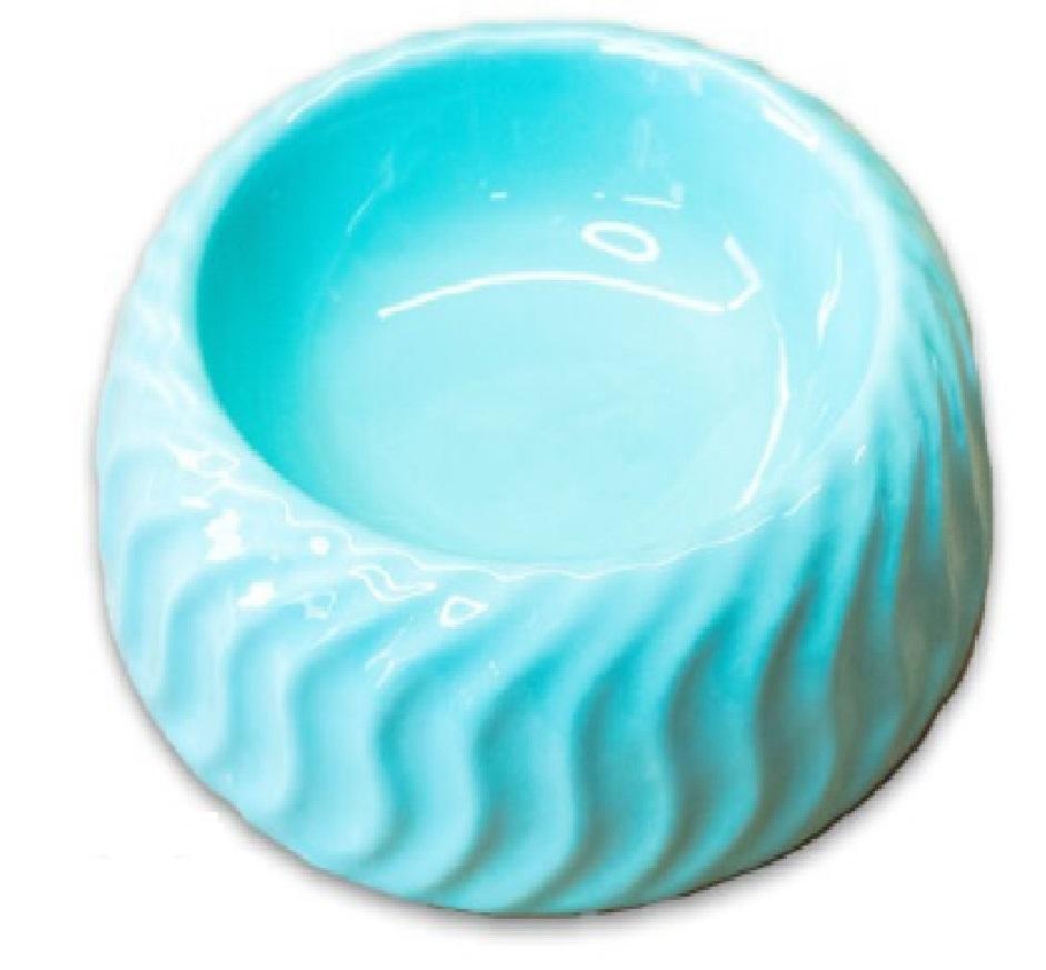 КерамикАрт Миска керамическая с узором Волны, 300 мл, 18,5*6 см, бирюзовая, KeramikArt