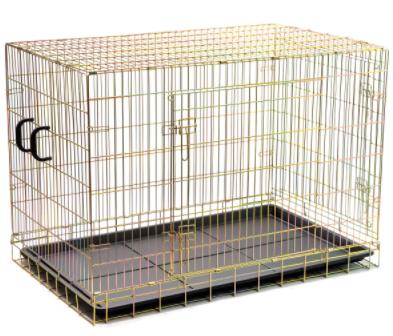 ЗооУан Клетка двухдверная ZW15148 с пластиковым поддоном жёлтая 120*75*85 см, ZooOne