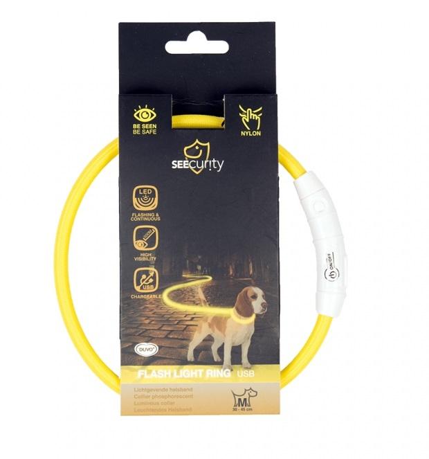 Дуво+ Светящийся ошейник-кольцо с USB зарядкой нейлоновый, желтый, в ассортименте, Duvo+