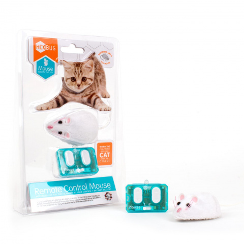 Хексбаг Игрушка для кошек Мышь-Микроробот на управлении и батарейках, 7*4 см, белая, Hexbug