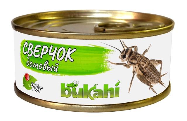 Букахи Консервы Сверчок домовый для насекомоядных, 40 г, Bukahi
