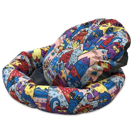 CLP Лежанка круглая Цветные коты, в ассортименте, хлопок, Comfort Line for Pets