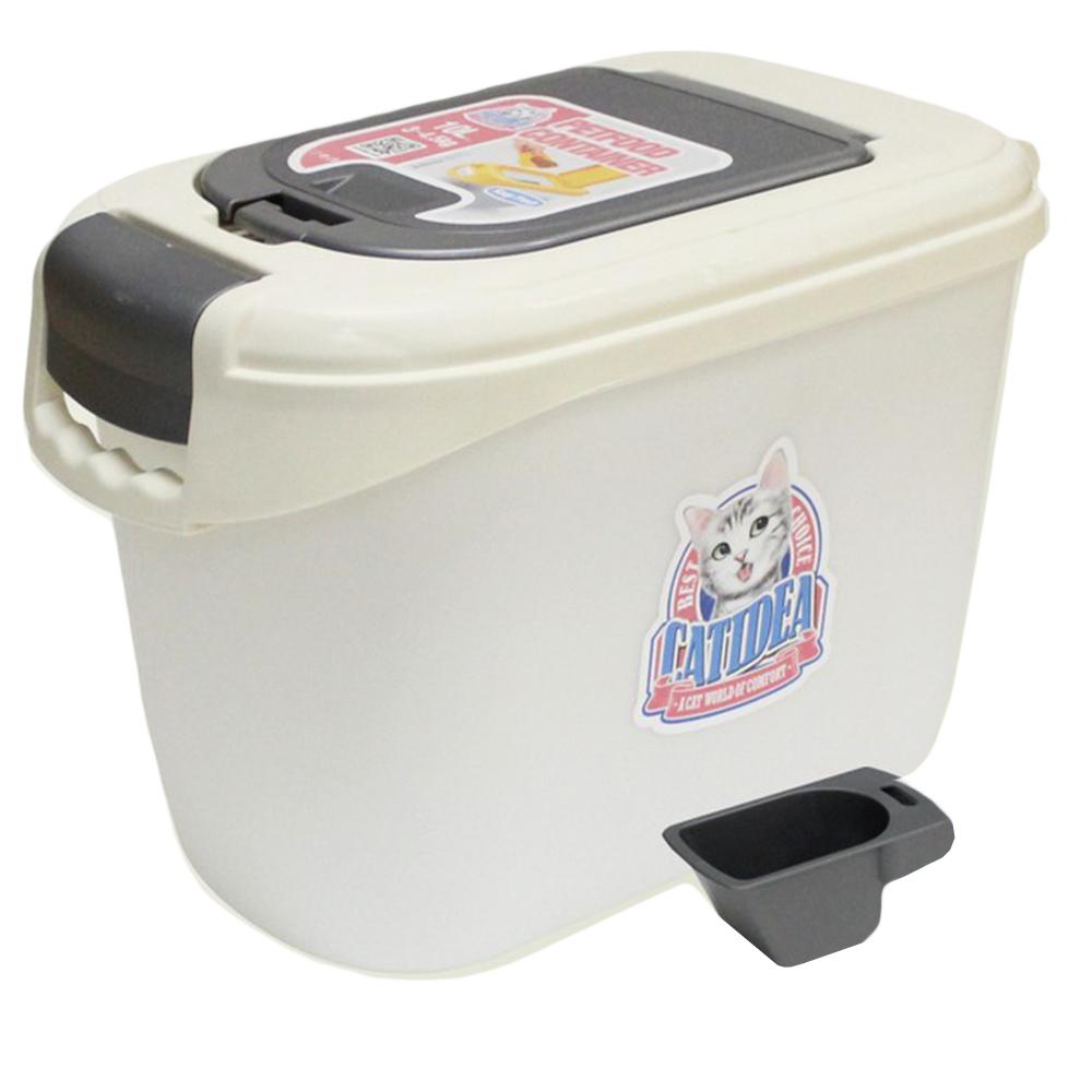 КэтИдея Контейнер для хранения сухого корма на 3 кг, двойная крышка, совок, 43,5*38*41,5 см, в ассортименте, Catidea