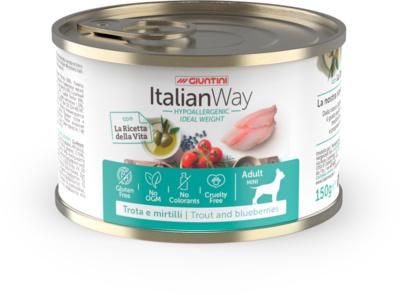 Италиан Вэй Консервы безглютеновые низкокалорийные Ideal Weight Trout/Blueberry для собак всех пород Профилактика аллергии, Форель/Черника, в ассортименте, Italian Way