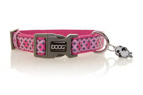 Дуг Ошейник Toto для собак, нейлон/неопрен, в ассортименте, розовый с узором, Doog
