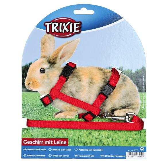 Трикси Шлейка с поводком для мелких животных, нейлон, обхват груди 25–44 см, ширина ремешков 1 см, в ассортименте, Trixie