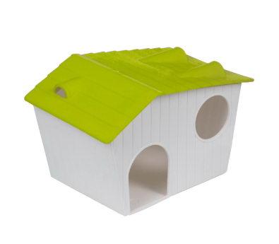 Вольтрега Домик для хомяков 15,5*10*9 см бело-зеленый, пластик, Voltrega