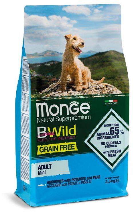 Монже Корм беззерновой BWild GRAIN FREE Mini для собак мелких пород, Анчоус/Картофель/Горох, 2,5 кг, Monge
