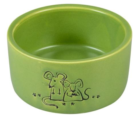 Дуво+ Миска керамическая для грызунов зеленая Dinner Time, 7,5 см, Duvo+