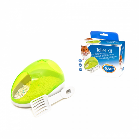 Дуво+ Туалет Potty Kit для мелких грызунов с лопаткой и наполнителем, 15*8*10 см, зелёный, DUVO+