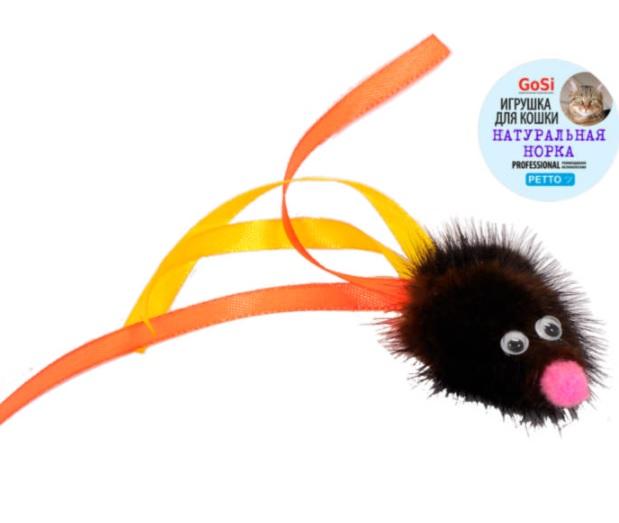 Игрушка для кошек Мышь М с хвостом из лент, натуральная норка, GoSi