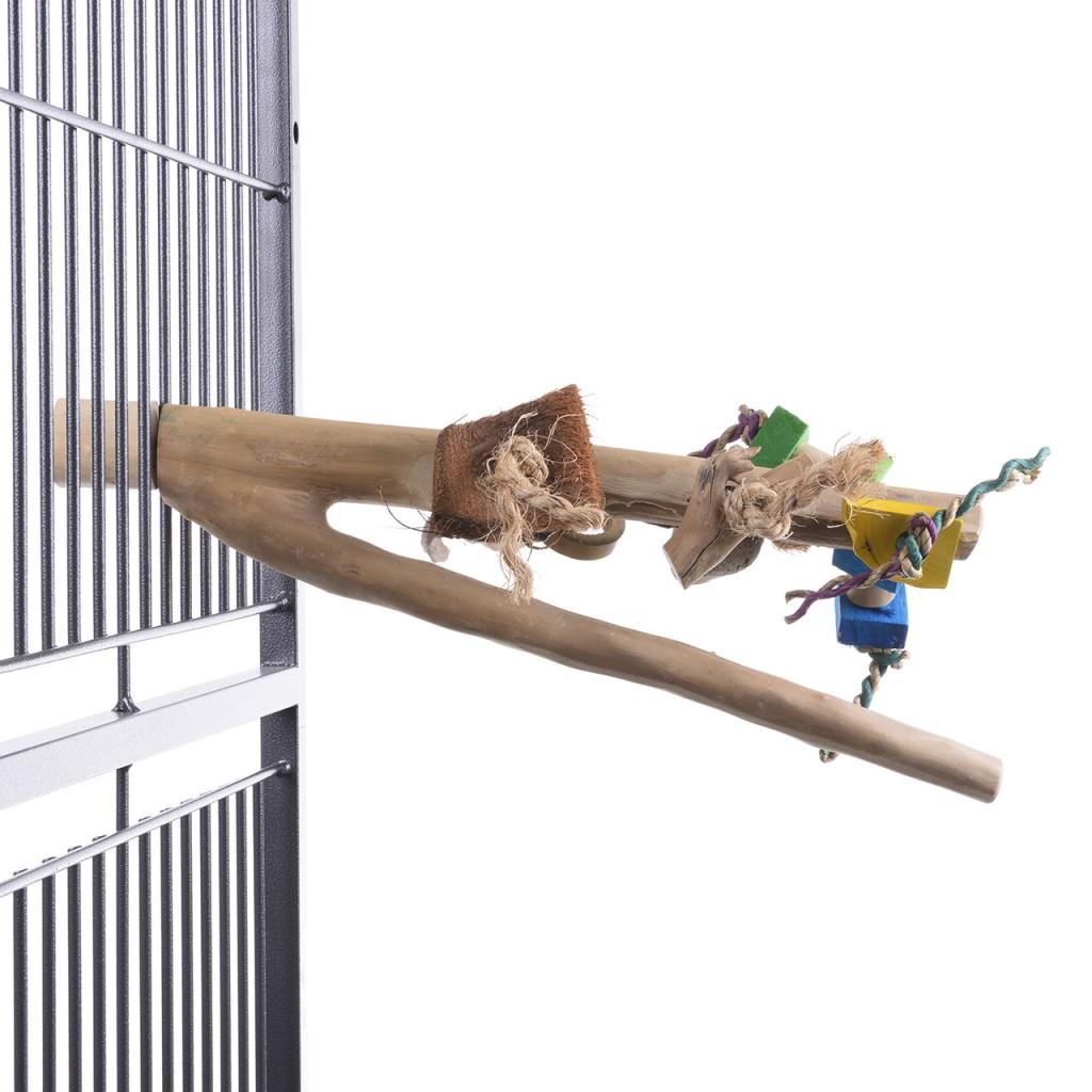 Хеппи Берд Жердочка Ветвь кофейная с игрушками с винтовым креплением к клетке, в ассортименте, Happy Bird