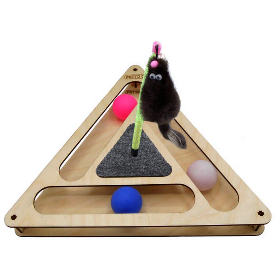 Петто Игровой комплекс для кошек Треугольник с шариками 32*28*3,6 см, в ассортименте, Petto