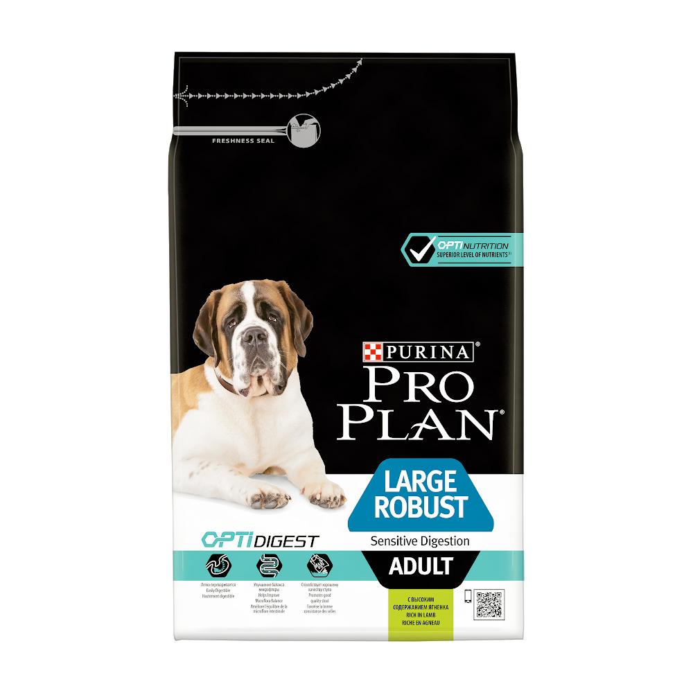 Про План Корм Adult Large Robust Sensitive Digestion с комплексом OPTIDIGEST для собак крупных пород с мощным телосложением и чувствительным пищеварением, Ягненок/Рис, в ассортименте, Pro Plan