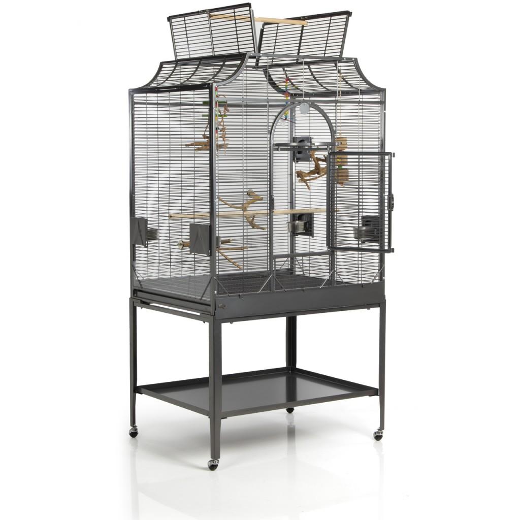 Монтана Клетка для птиц Madeira III светло-серая на подставке, 96*58*101/167 см, Montana