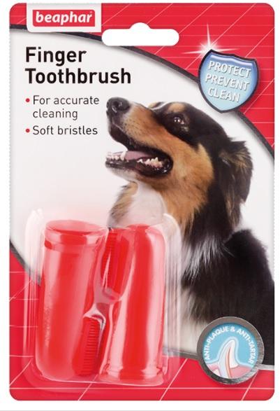 Беафар Зубная щетка Finger Toothbrush на палец для собак, 2 шт/уп., Beaphar