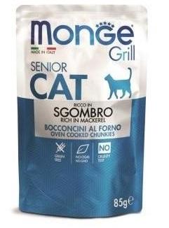 Монже Паучи Cat Grill Pouch для пожилых кошек, Эквадорская макрель, 85 г, Monge