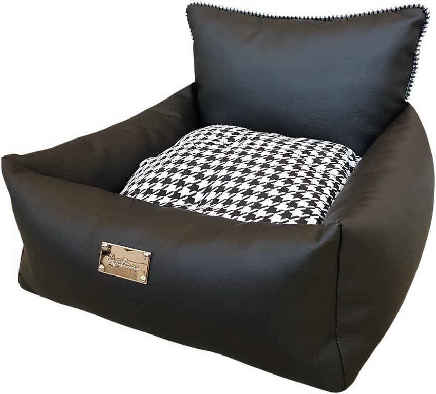 АнтеПрима Лежак для животных Aurora черный, подушка черно-белая, в ассортименте, экокожа, AntePrima