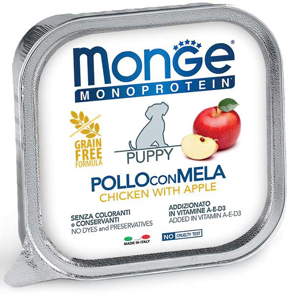 Монже Консервы Dog Monoprotein Fruits (Паштет) для щенков, Курица/Яблоко, 150 г, Monge