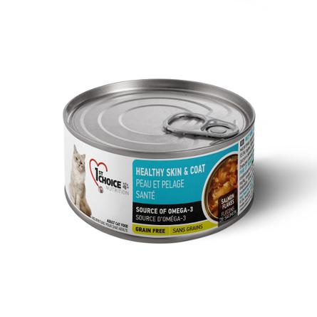 Фест Чойс Консервы беззерновые Grain Free Healthy Skin/Coat для кошек Здоровая кожа и Шерсть Лосось/Масло тунца 24*85г, 1st Choice