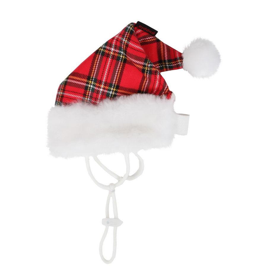 Паппи Колпак новогодний Santa для собак и кошек, в ассортименте, красная клетка, PUPPIA