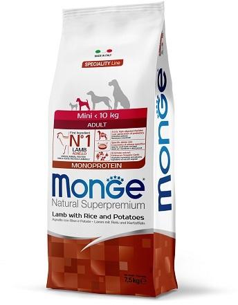 Монже Корм Dog Monoprotein Mini для собак миниатюрных пород Ягненок/Рис/Картофель, в ассортименте, Monge