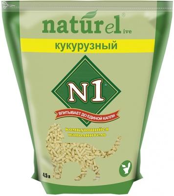 N1 Наполнитель Naturel Кукурузный комкующийся гранулированный для кошачьего туалета в ассортименте N1