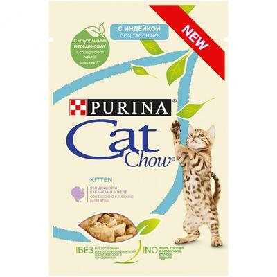 Кэт Чау Паучи для котят Кусочки в соусе 24*85 г, в ассортименте, Cat Chow Purina
