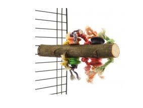 Хеппи Берд Жердочка деревянная с игрушками, с винтовым креплением к клетке, 30*5 см, Happy Bird