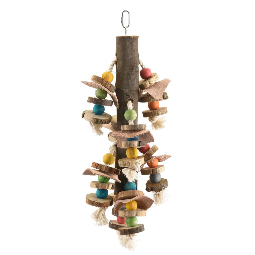 Хеппи Берд Игрушка для средних и крупных птиц Деревянные чипсы, 16*12*45 см, кожа/бусины, Happy Bird