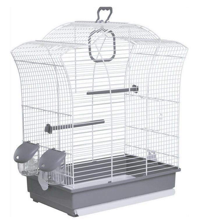 Вольтрега Клетка для птиц 44,5*25,5*51,5 см серый поддон/белая решетка, Voltrega