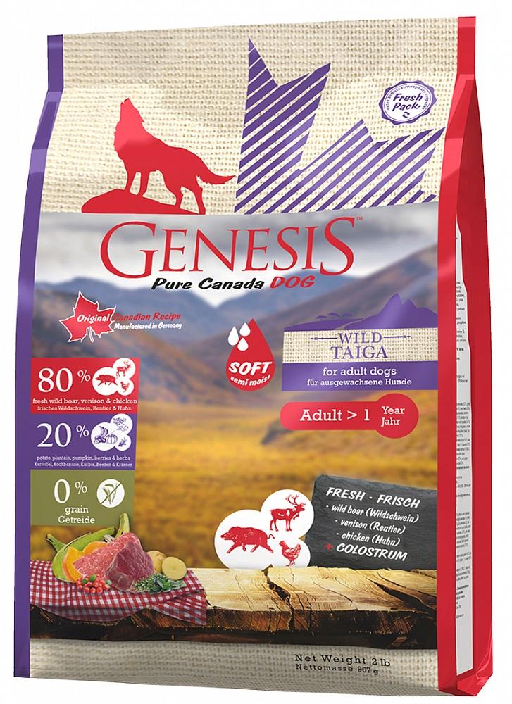 Генезис Корм Pure Canada Wild Taiga Soft (Дикая Тайга) с повышенной влажностью для собак, Кабан/Олень/Курица, в ассортименте, Genesis