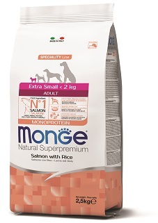 Монже Корм Dog Monoprotein Extra Small для собак миниатюрных пород Лосось/Рис, в ассортименте, Monge