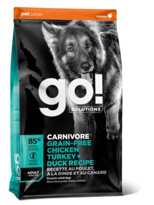 Корм Гоу беззерновой Carnivore GF для взрослых собак всех пород, 4 вида мяса: Индейка/Курица/Лосось/Утка, в ассортименте, Go!