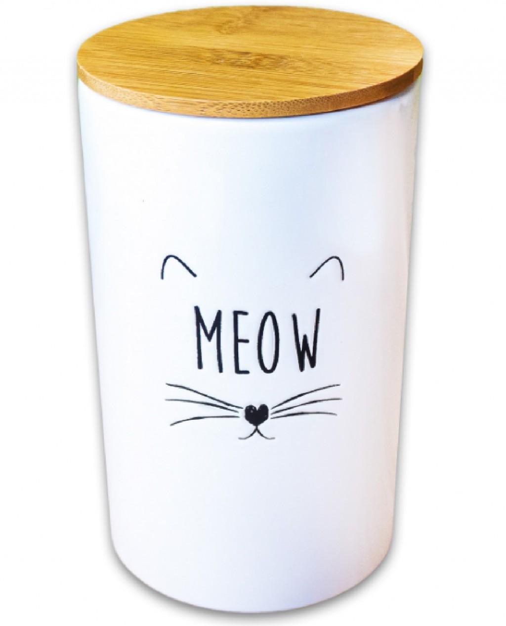 КерамикАрт Емкость Meow для хранения корма и лакомств для кошек, 1,7 л, 12,5*20 см, белый, KeramikArt