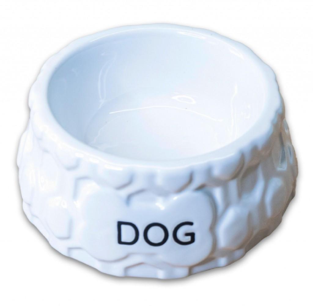 КерамикАрт Миска керамическая Dog для собак, 200 мл, 12,5*5,5 см, белая, KeramikArt