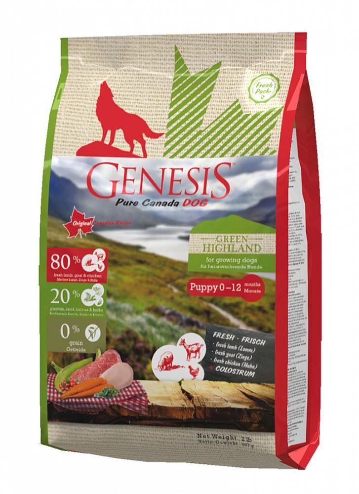Генезис Корм Pure Canada Green Highland (Зеленое нагорье) для щенков, юниоров, беременных и кормящих собак, Курица/Коза/Ягненок, в ассортименте, Genesis
