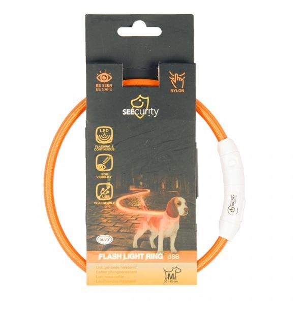 Дуво+ Светящийся ошейник-кольцо с USB зарядкой нейлоновый, оранжевый, в ассортименте, Duvo+