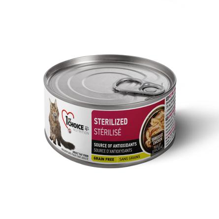 Фест Чойс Консервы беззерновые Grain Free Sterilized для стерилизованных кошек Курица/Сардины 24*85г, 1st Choice