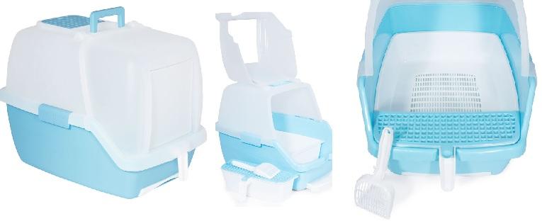 Триол Туалет-бокс P910 с фильтром и совком, двойное дно с сеткой, выдвижной лоток, 55*40*42 cм, белый верх/голубой низ, Triol