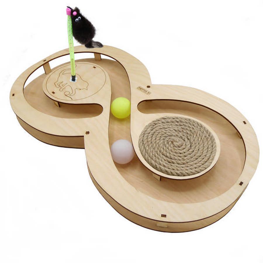 Петто Игровой комплекс для кошек Восьмерка с шариками 49*27*3,6 см, в ассортименте, Petto
