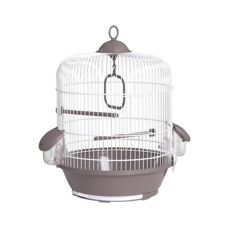 Вольтрега Клетка для птиц круглая, диаметр 31,5 см, высота 40 см, в ассортименте, белая эмаль, Voltrega