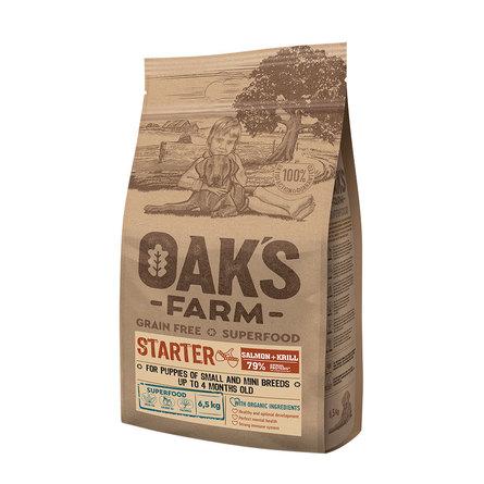Оакс Фарм Корм беззерновой GF Salmon Starter Small and Mini Breeds для щенков малых и мини пород до 4 месяцев, Лосось/Криль, в ассортименте, Oaks Farm